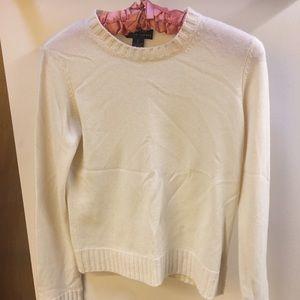 Ralph Lauren Cream Cashmere Crewneck Sweater Small